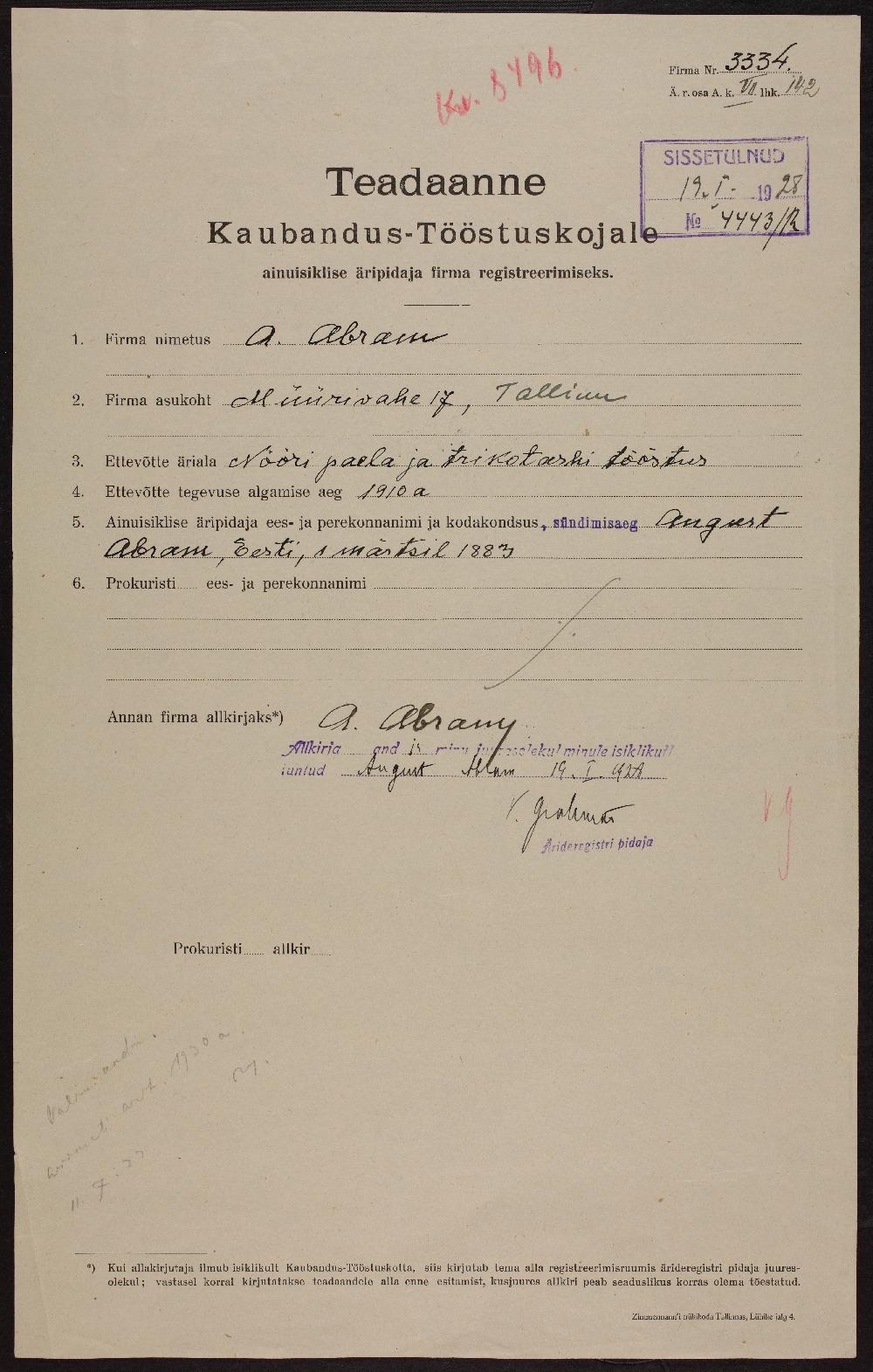 Nööbi-, paela- ja trikotaažitööstus A. Aarma (Abram) registreerimisavaldus. ERA.891.2.3334