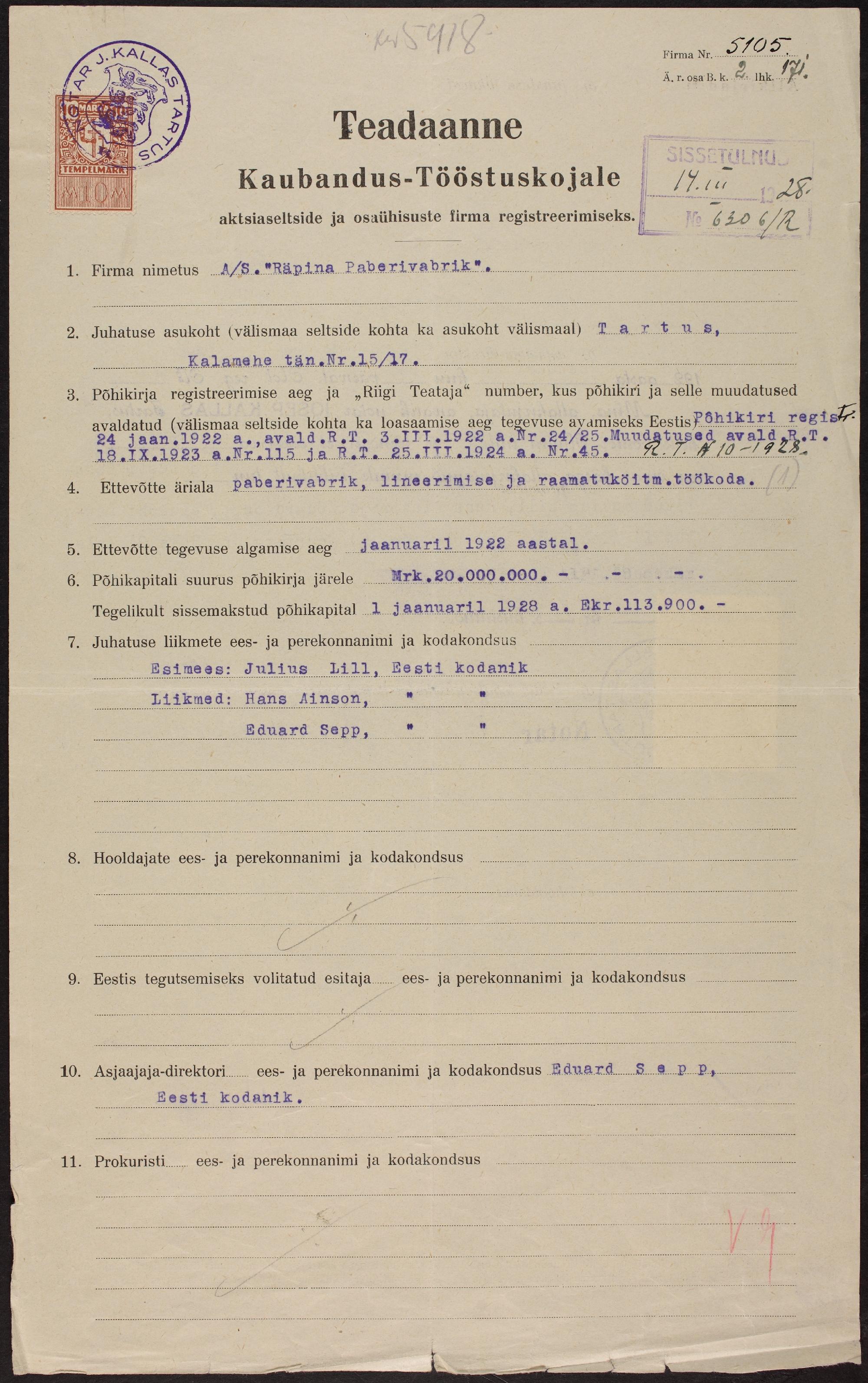 A/S Räpina paberivabriku registreerimise avaldus, 1928. ERA.891.2.5105