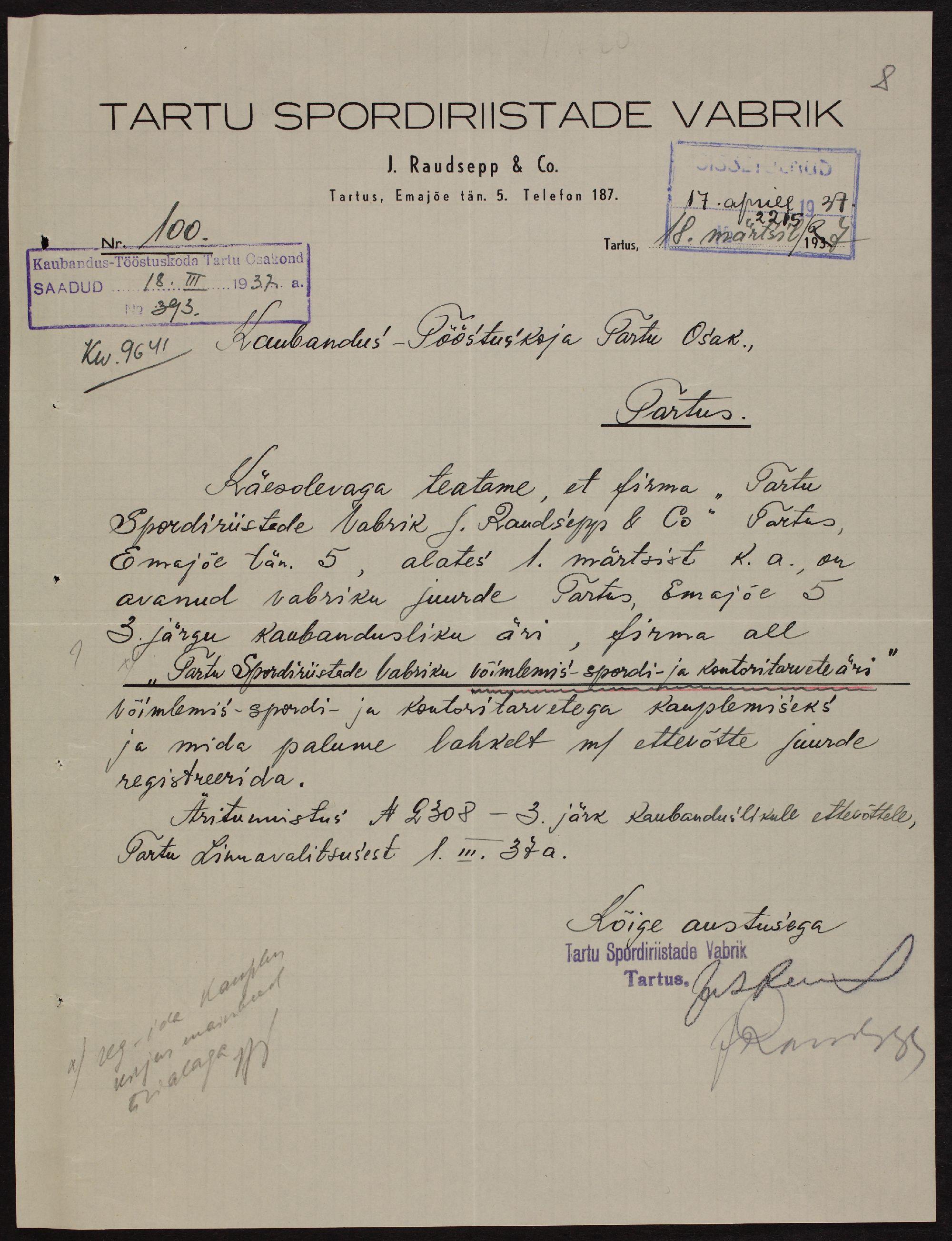 Teade Tartu Spordiriistade Vabriku võimlemis-, spordiriistade- ja kontoritarvete äri avamisest Emajõe tänaval Tartus, 1928. ERA.891.2.11740