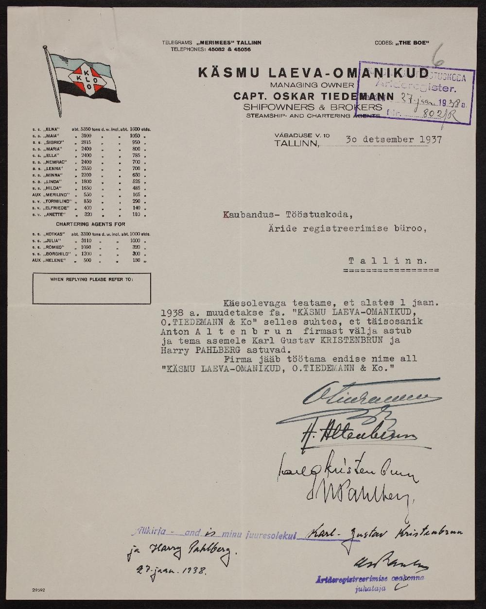 """Väljavõte """"Käsmu laevaomanikud O. Tiedemann ja Ko"""" registreerimistoimikust, 30.12.1937. ERA.891.2.19670"""