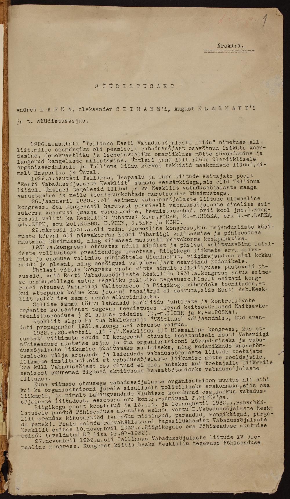 Andres Larka, Aleksander Seimanni, August Klasmanni süüdistusakt. ERA.927.1.17003.
