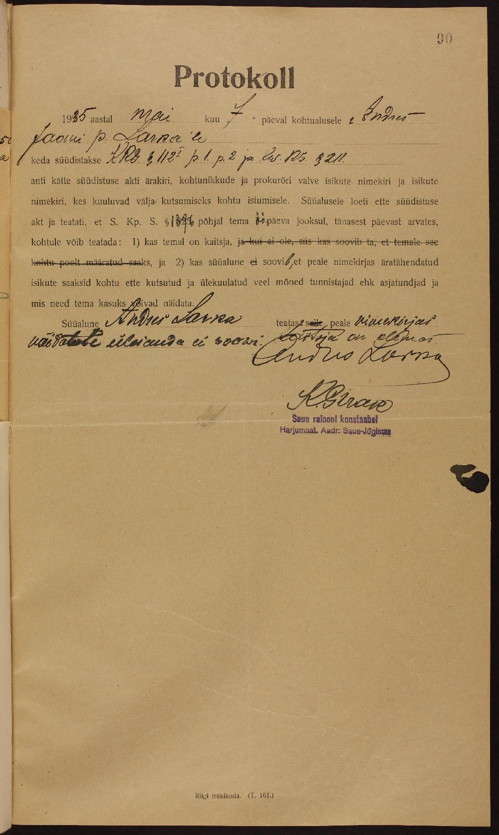 Andres Larka süüdistusest informeerimise protokoll. ERA.927.2.3