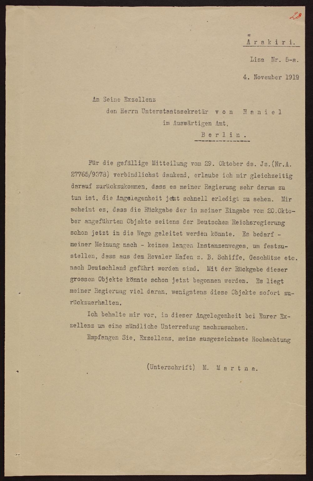 M.Martna kirja ärakiri riigisekretär von Haniel'le 4. nov. 1919. era0957_011_0000359_00001_t