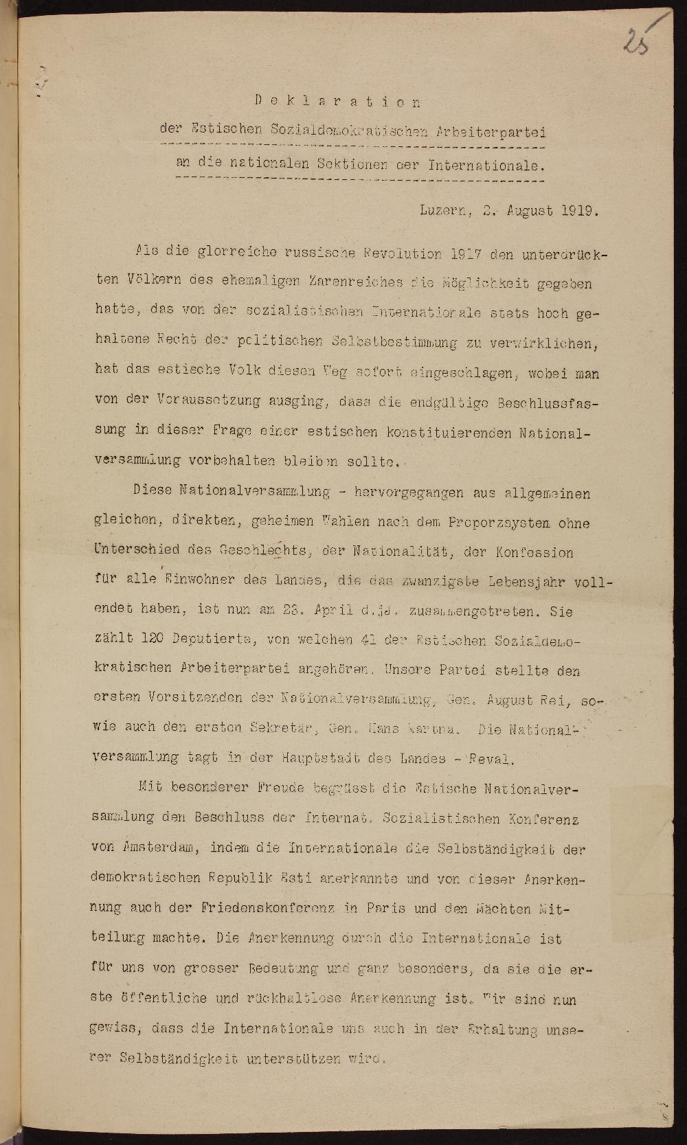 Eesti Sotsiaaldemokraatliku Töölispartei deklaratsioon 2. aug. 1919. ERA957.1.1. era0957_001_0000001_00001_t