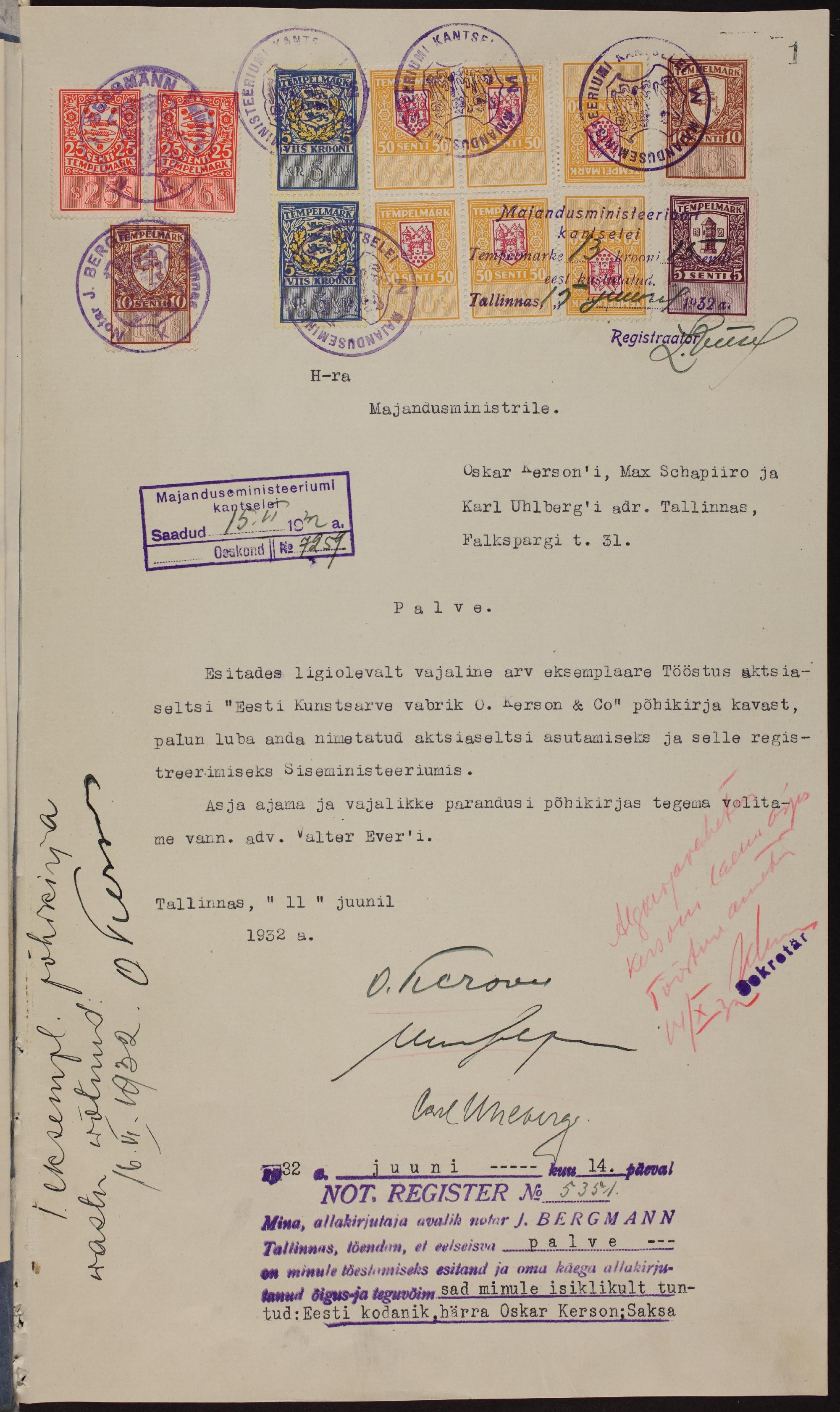 """Avaldus aktsiaseltsi """"Eesti Kunstsarve vabrik. O Kerson & Co."""" asutamiseks, 1932. ERA.969.1.751"""