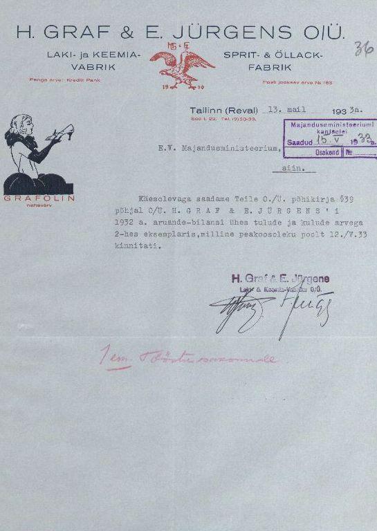 "O/Ü ""H.Grafi ja E. Jürgensi Laki- ja Keemiavabriku kirjaplankett. 1933. ERA.969.1.757"