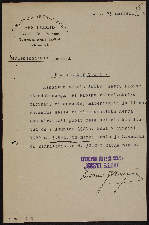 Räpina paberivabriku kindlustustunnistus, 1922 ERA.969.1.987