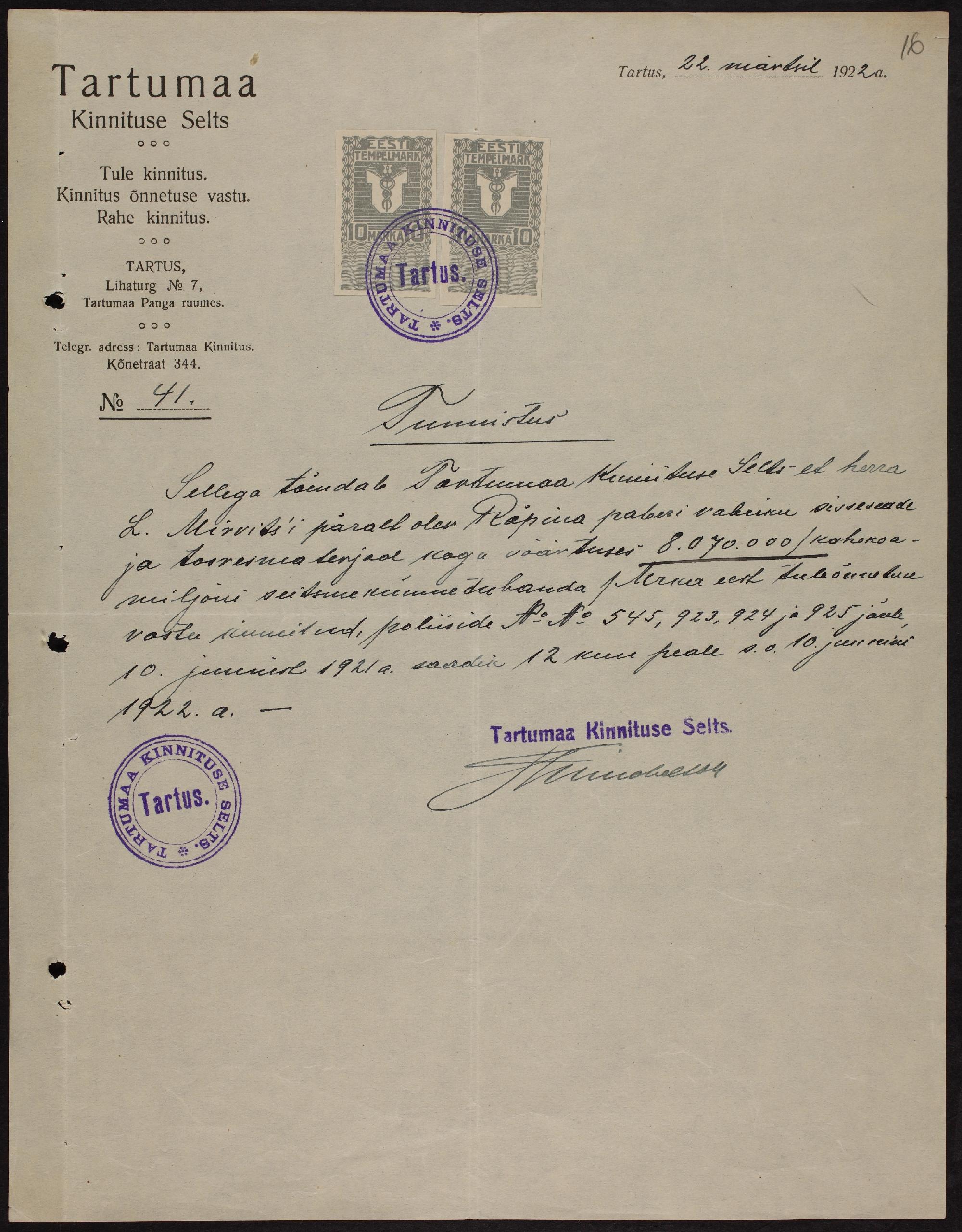 Räpina paberivabriku kindlustustunnistus, 1922. ERA.969.1.987