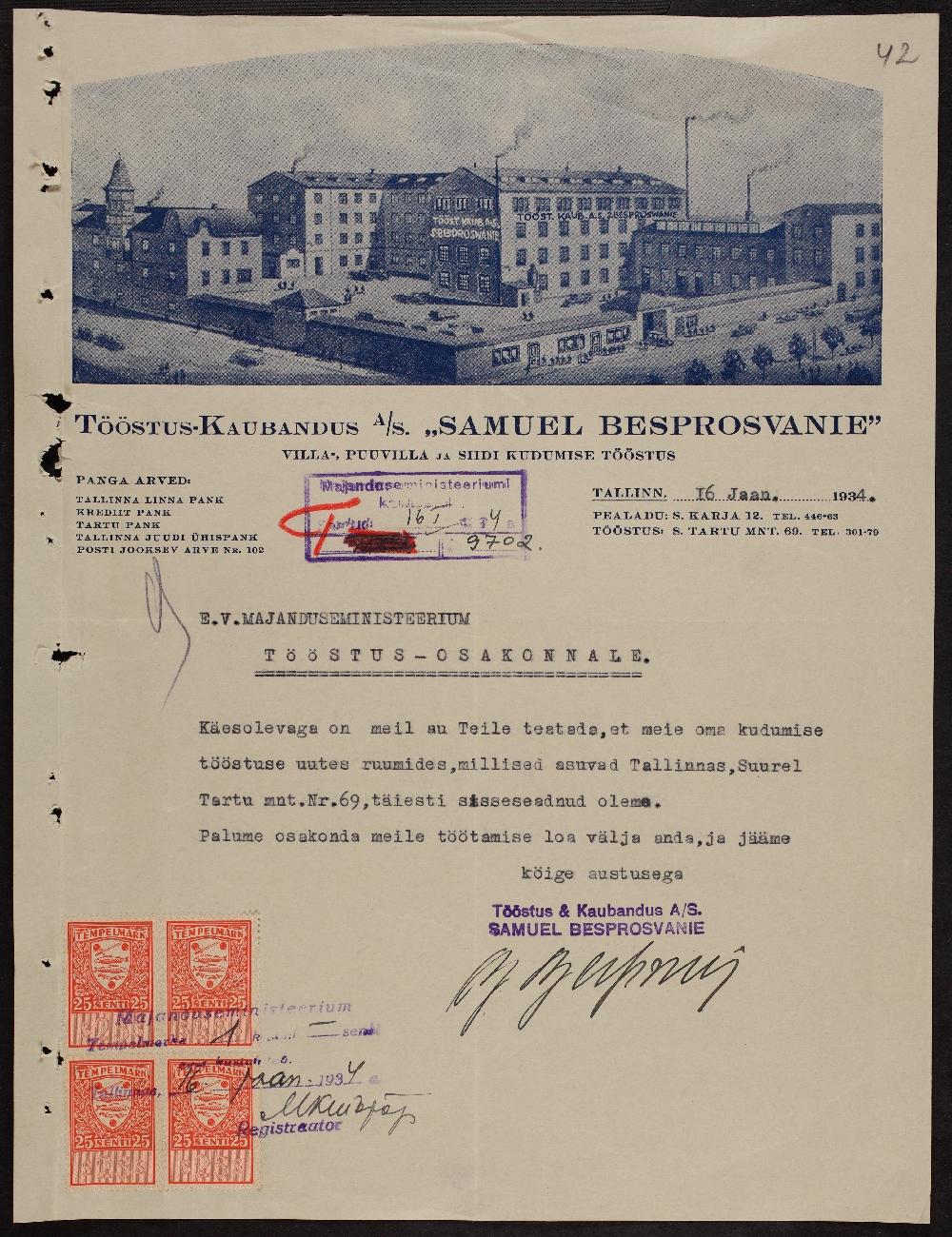 """Teade tööstus-kaubandusühingu """"Betty Besprosvanny ja Poeg"""" kudumistööstuse asukoha muutusest. ERA.969.4.1593"""