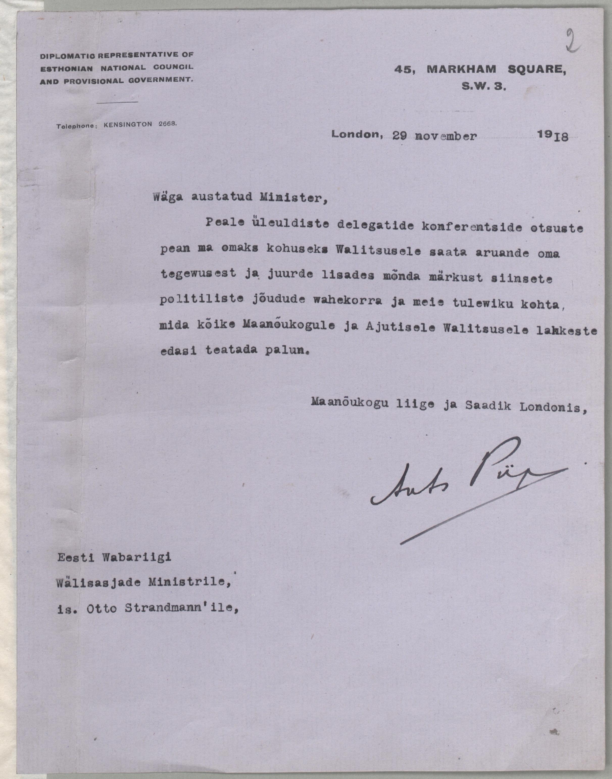 Maanõukogu liikme ja Londoni saadiku Ants Piibu teade EW Välisasjade ministrile Otto Strandmann'ile 1918. ERA.1619.1.1.