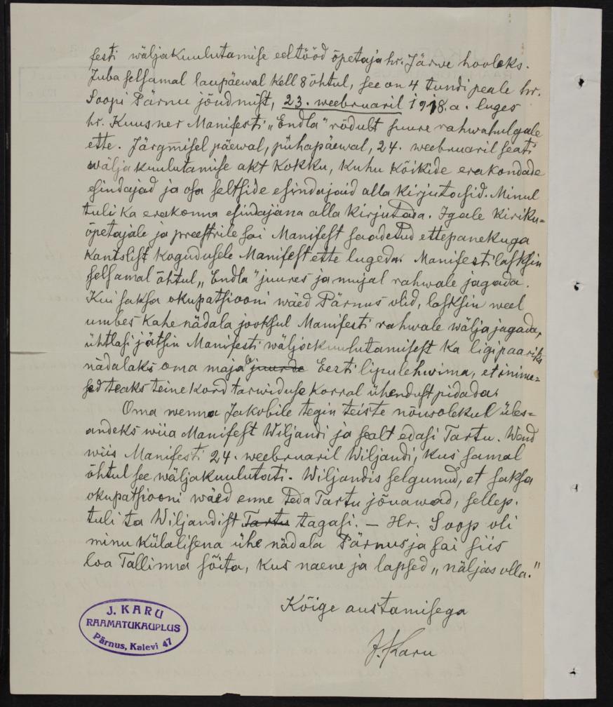J.Karu kaaskiri Manifesti Eestimaa rahvastele saatmisest Hr. Riigihoidjale Tallinnas, 10. märtsil 1938. ERA.2124.3.520.