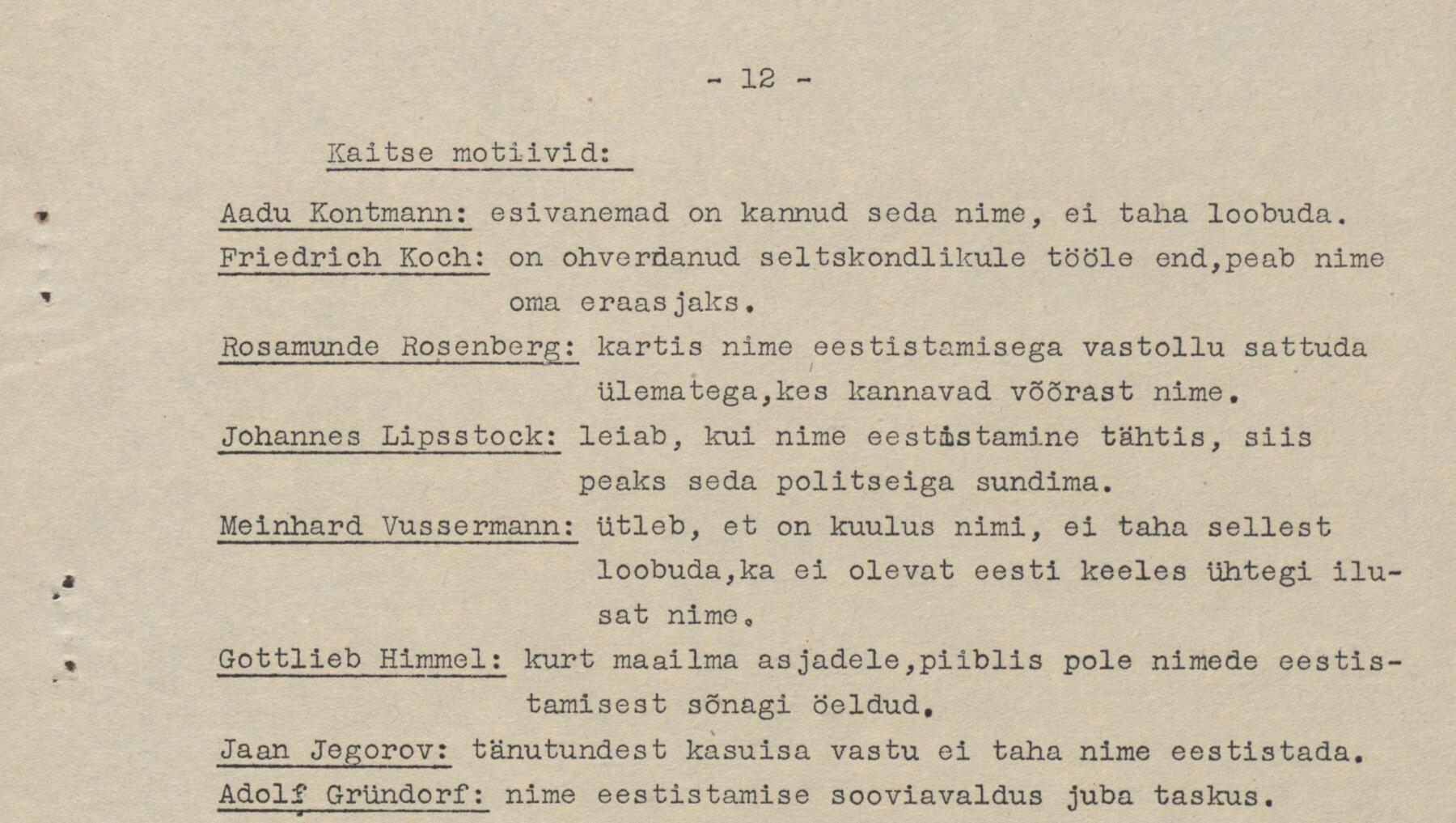Nimede eestistamine ehk üldmärkmeid seltskondliku kohtu pidamiseks võõrapärase perekonnanime üle