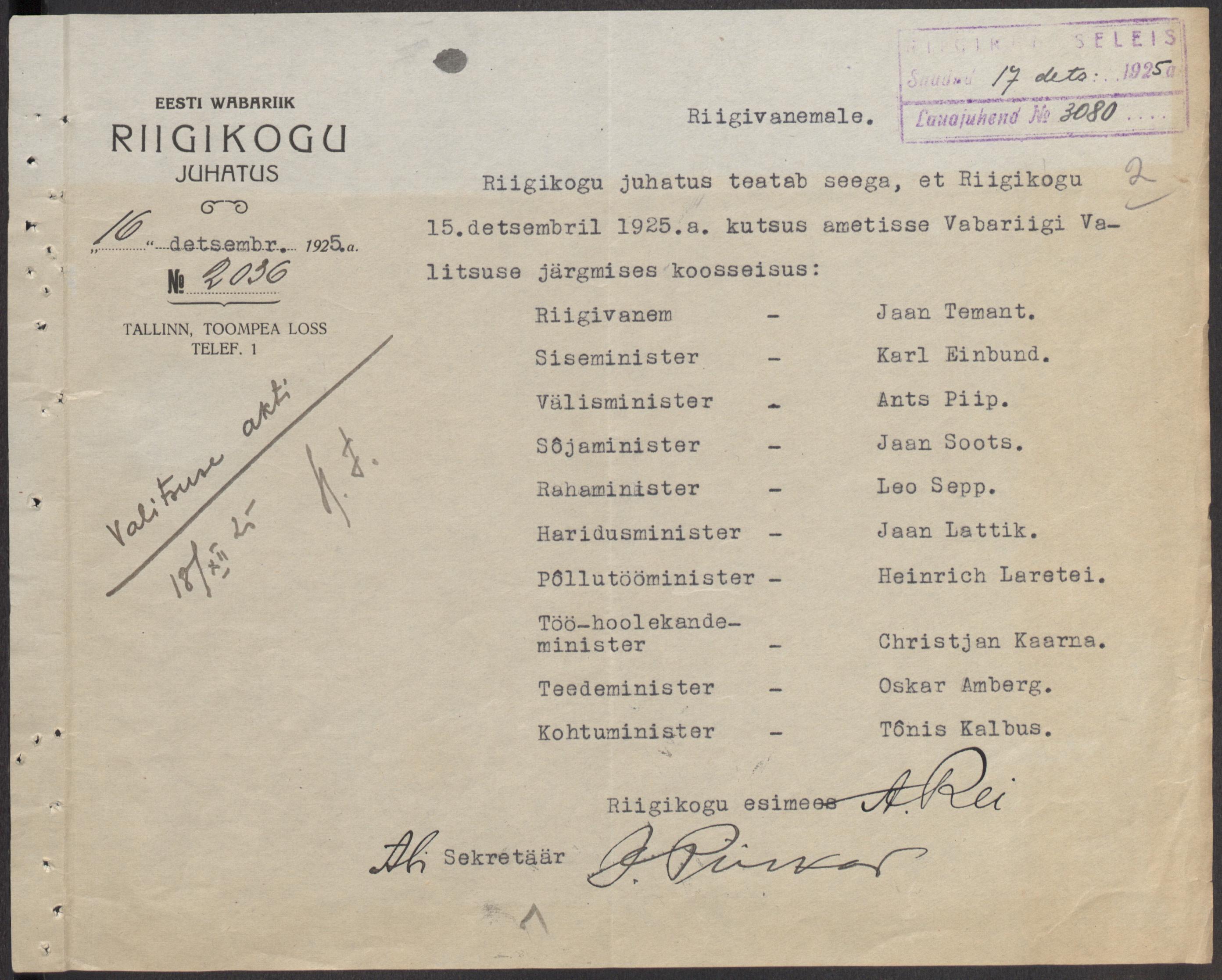 Riigikogu juhatuse teade Vabariigi Valitsuse ametisse kutsumisest. Riigivanem on Jaan Teemant. ERA.31.5.982 era31.5.982_lk2