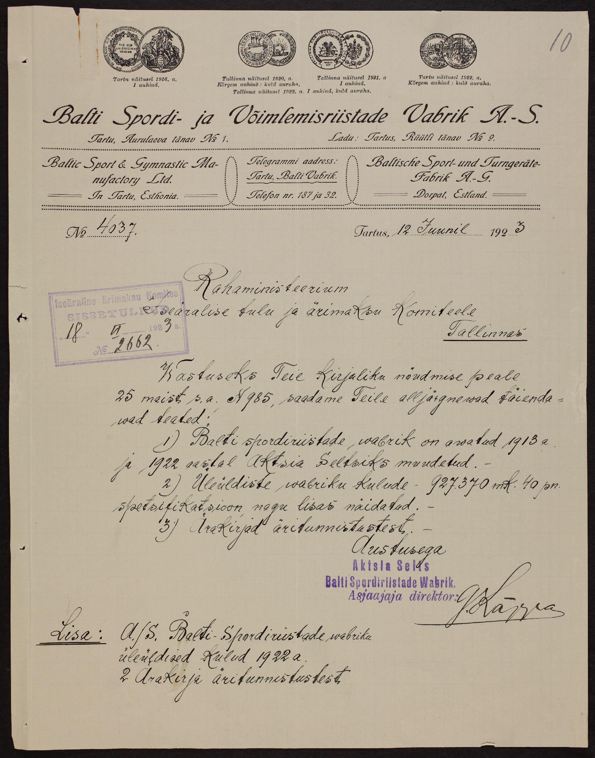 Lehekülg Balti Spordiriistade Vabriku maksutoimikust, 1922. ERA.4434.2.206