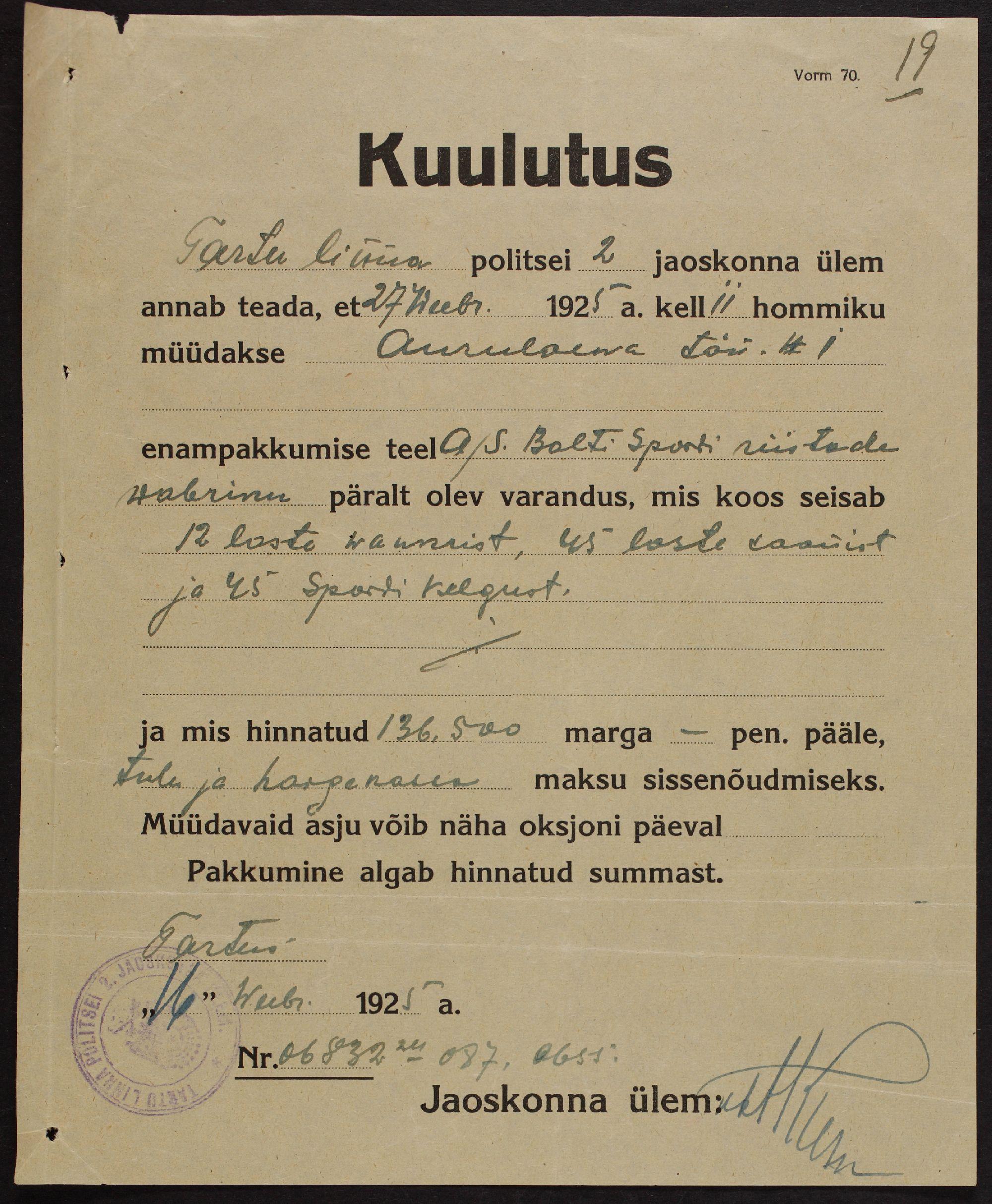 Lehekülg Balti Spordiriistade Vabriku maksutoimikust, 1923. ERA.4434.2.207