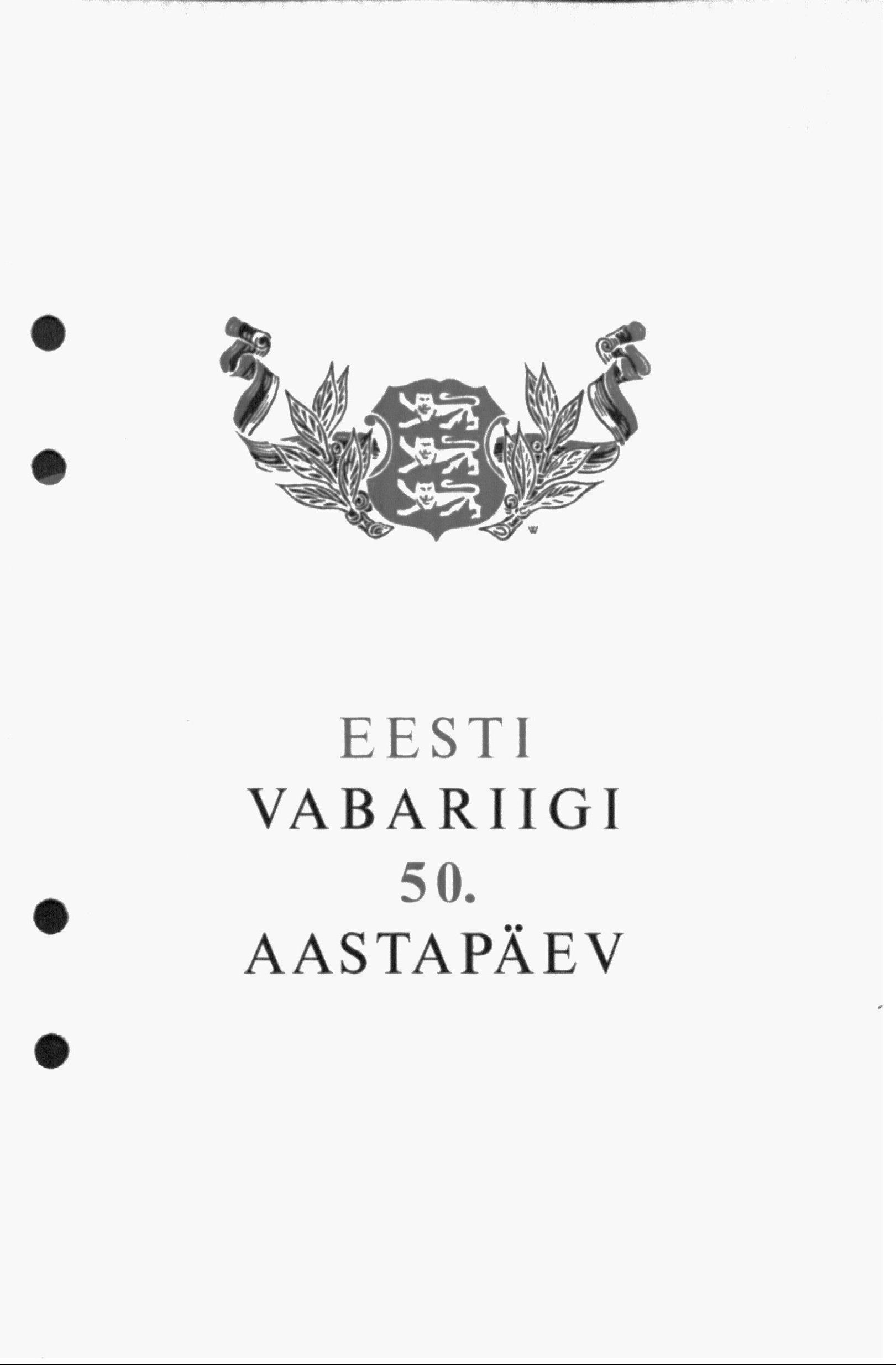 Eesti Vabariigi 50. aastapäeva kontserdi kava esileht. era4935_001_0000193_00078_t