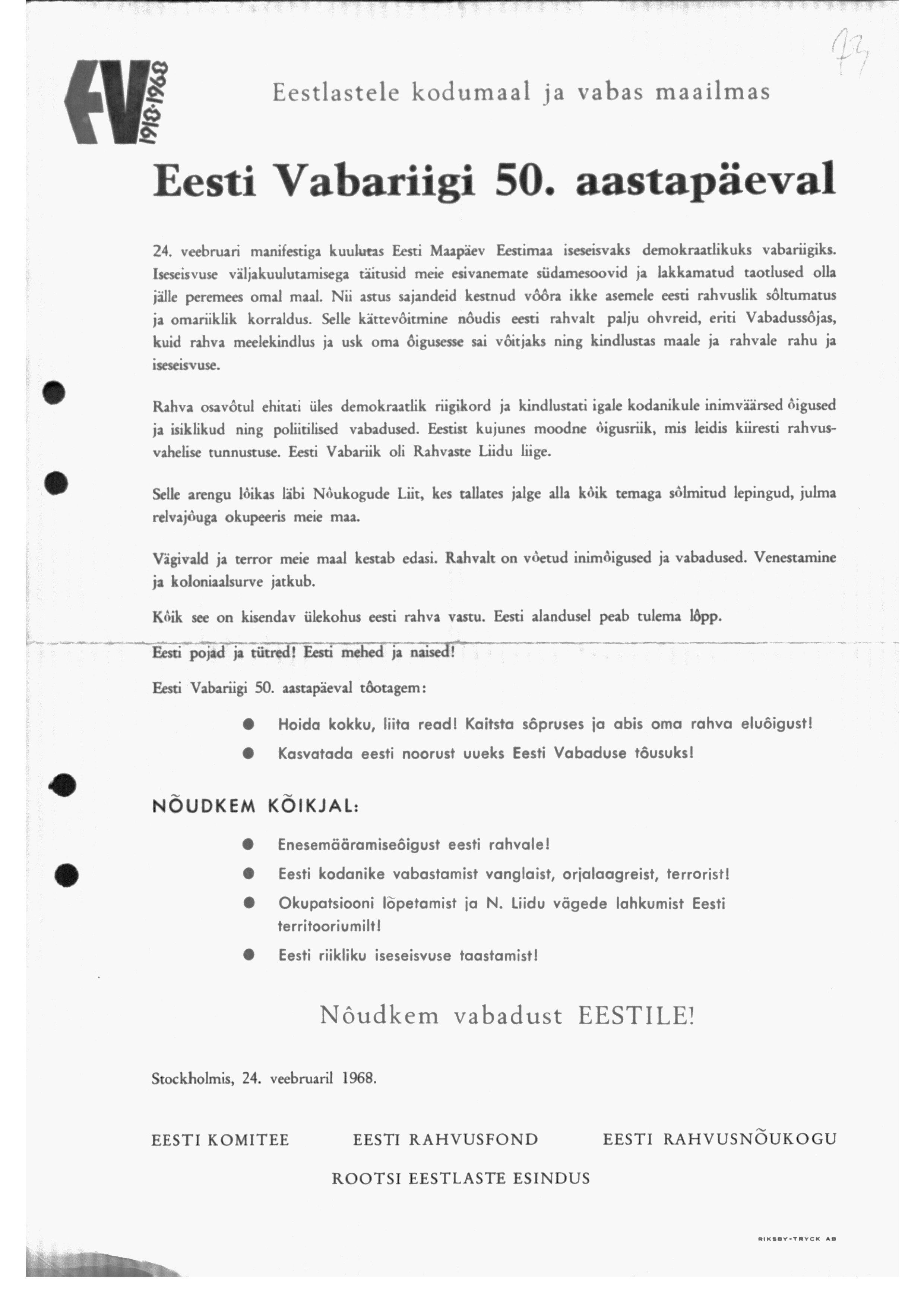 Üleskutse Eesti Vabariigi 50. aastapäeval eestlastele kogu maailmas. era4935_001_0000193_00089_t