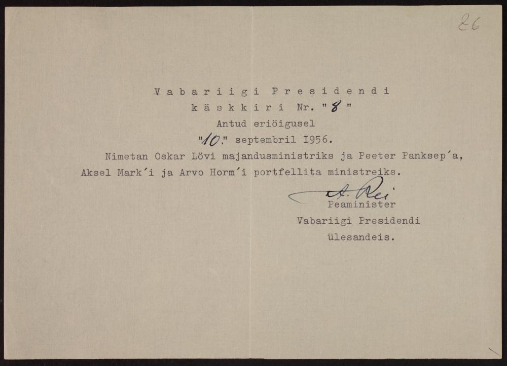 August Rei otsus määrata Oskar Lõvi Eesti Vabariigi valitsuse eksiilis majandusministriks, ERA.4969.1.3