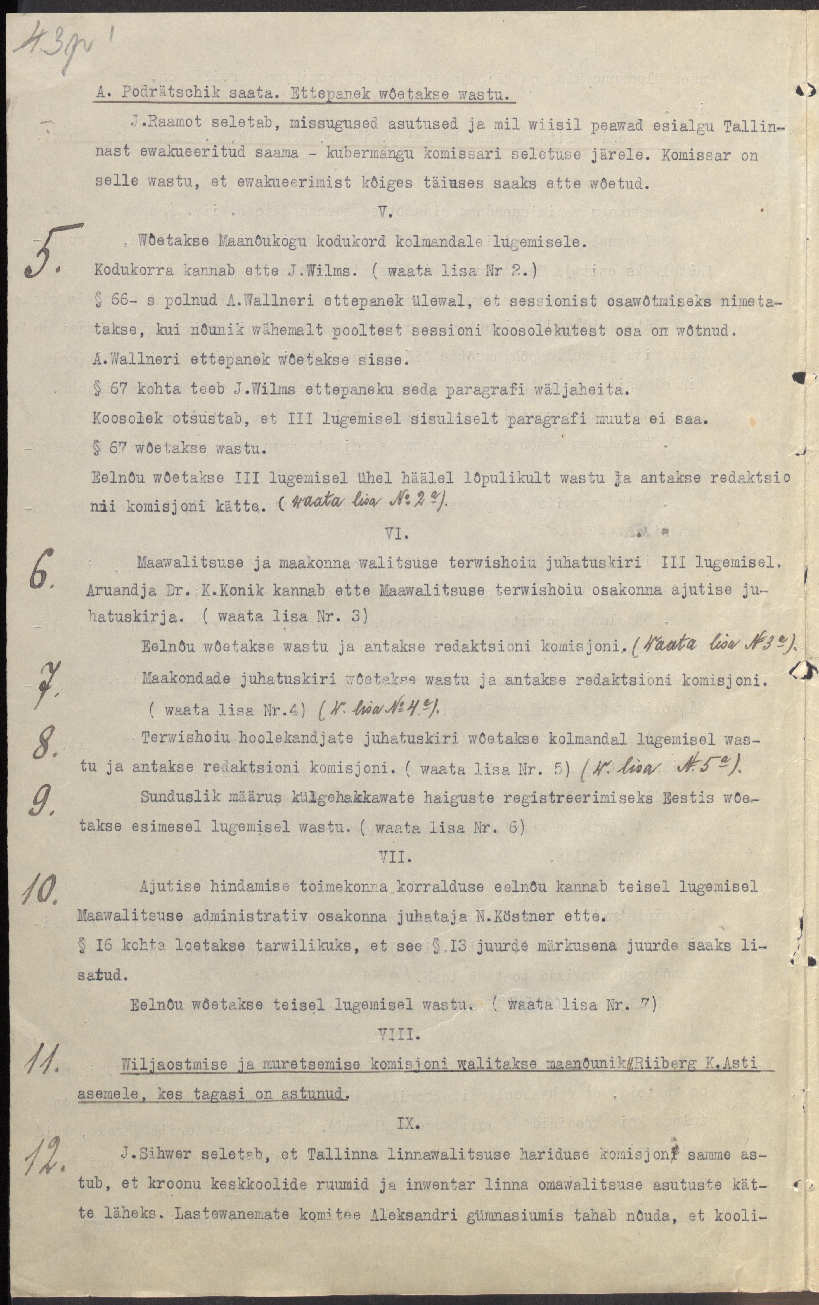 Maanõukogu koosolek oktoobrist 1917. Maanõunik on Jaan Teemat. ERA.78.1.97. era78.1.97_lk3p