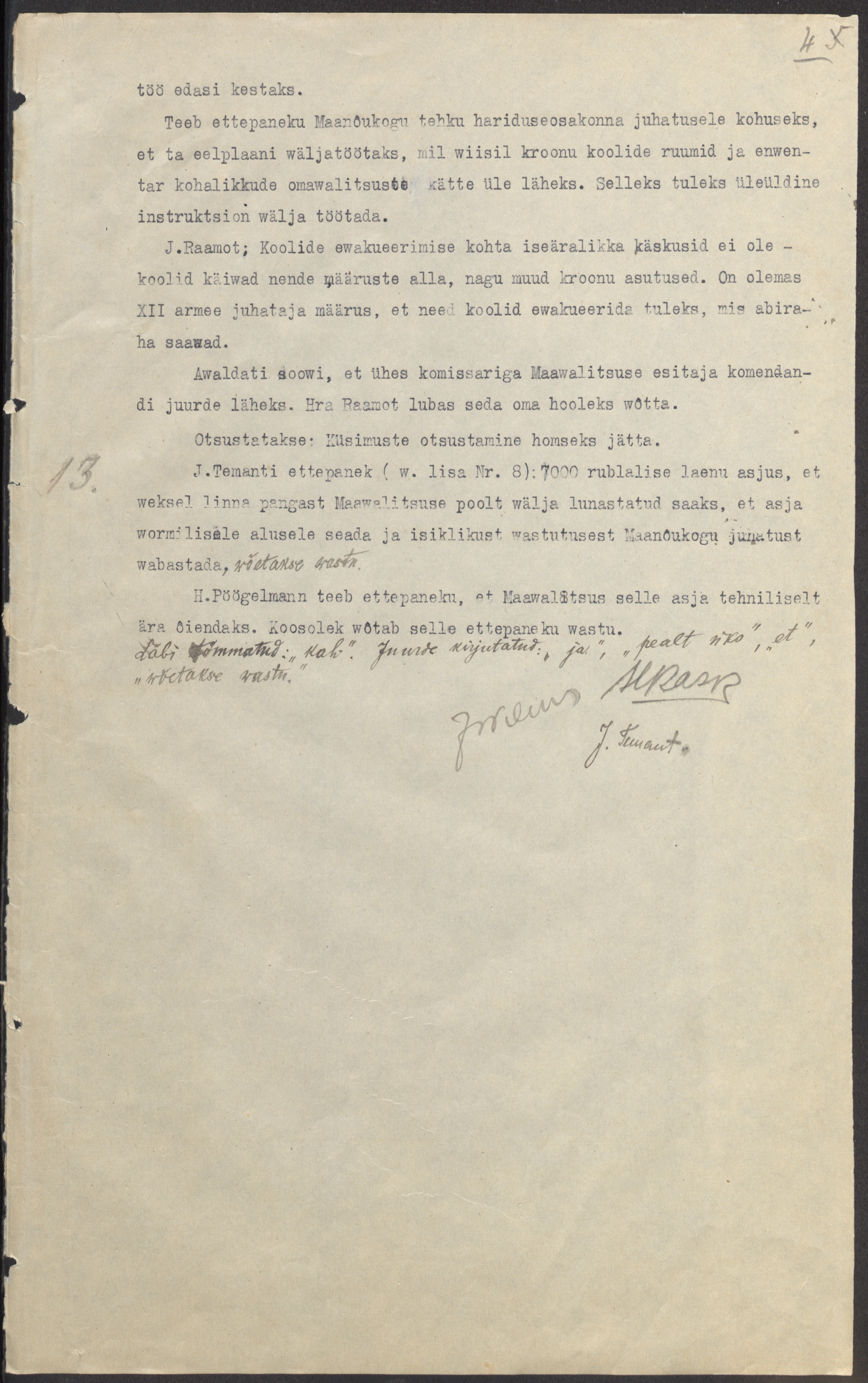 Maanõukogu koosolek oktoobrist 1917. Maanõunik on Jaan Teemat. ERA.78.1.97. era78.1.97_lk4