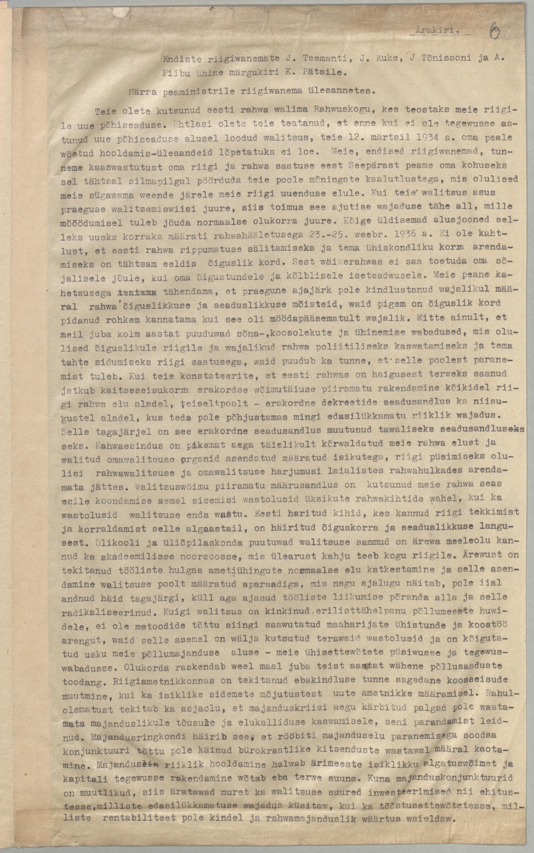Endiste riigivanemate J. Teemanti, J. Kuke, J. Tõnissoni ja A. Piibu ühine märgukiri K. Pätsile. ERA.949.3.49 era949.3.49_lk6