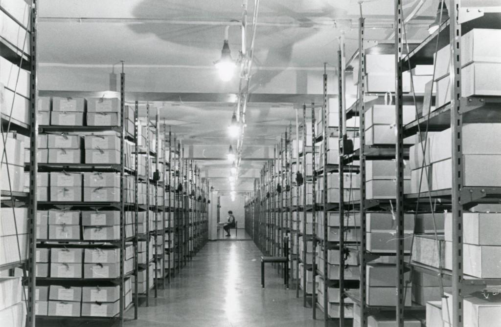 Vaade EKP KK Partei Ajaloo Instituudi parteiarhiivi uude ruumikasse hoidlasse, [1979] ERAF2.2.9170.1. eraf2-2-9170-1