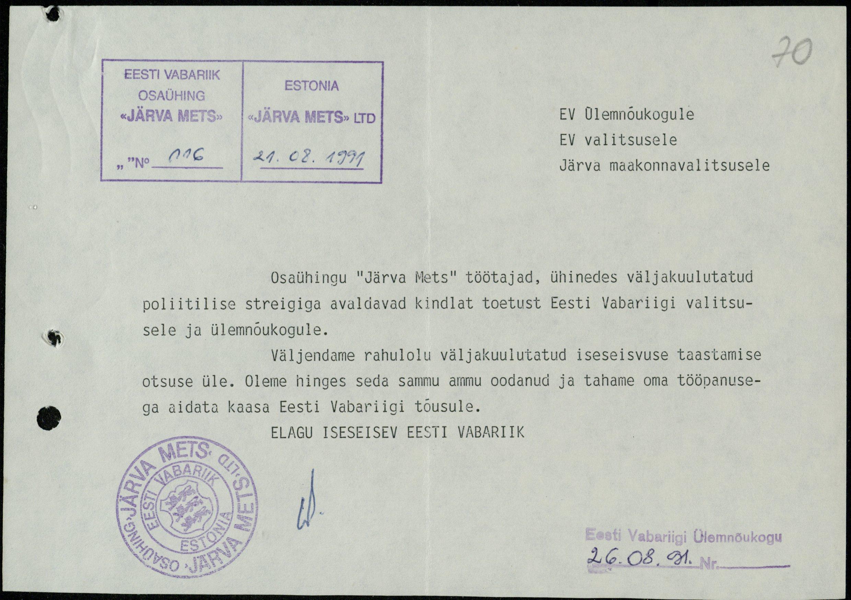 """Osaühingu """"Järva Mets"""" töötajate toetuskiri"""