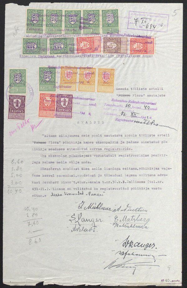 Avaldus keemiatööliste artelli Flora põhikirja kinnitamiseks. Asutuse nimetuses on maha tõmmatud sõna punane. 1940. ERA.R-4.2.81