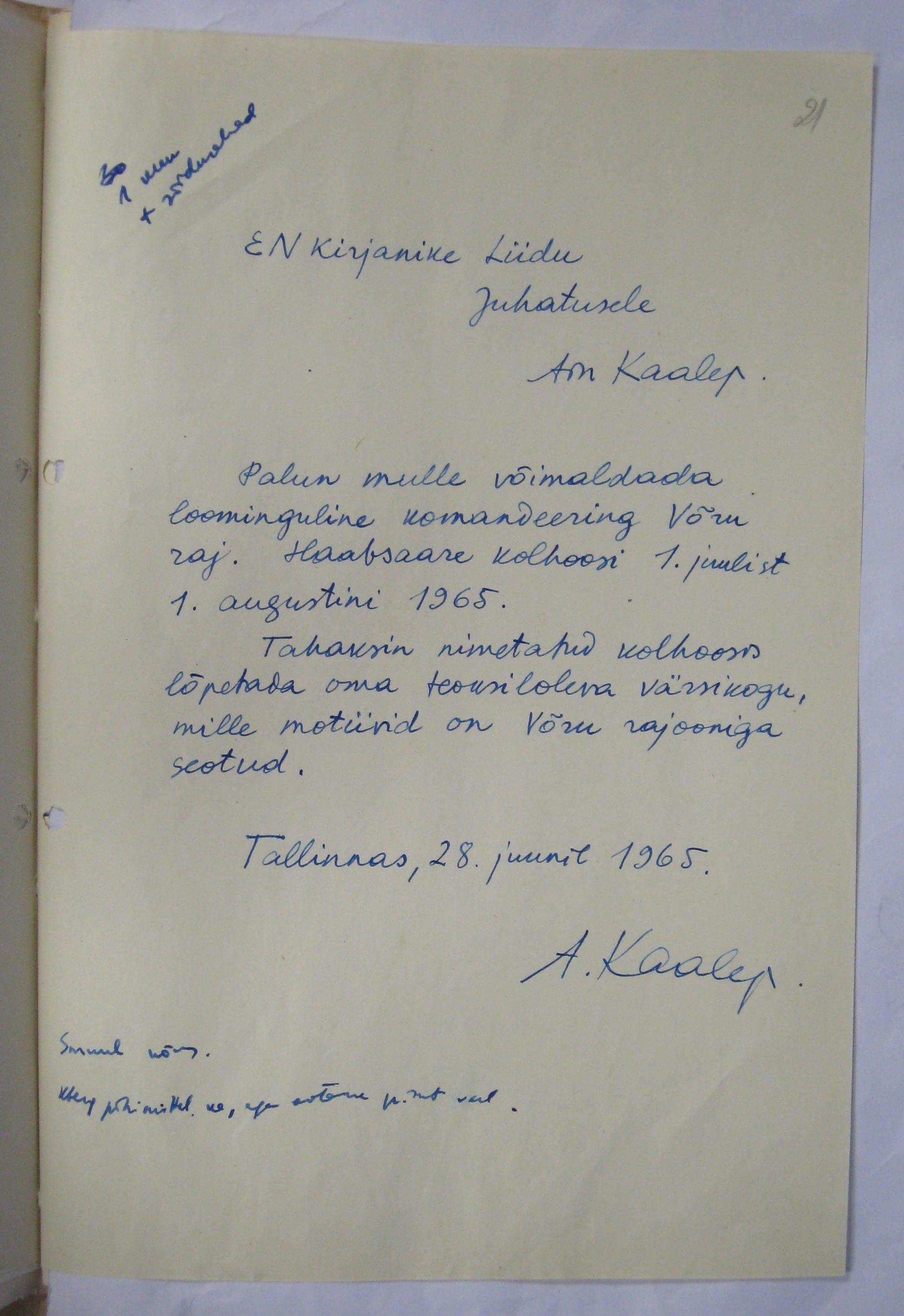 Ain Kaalepi taotlus loominguliseks komandeeringuks Võru Rajooni. ERA-R.1765.1.363