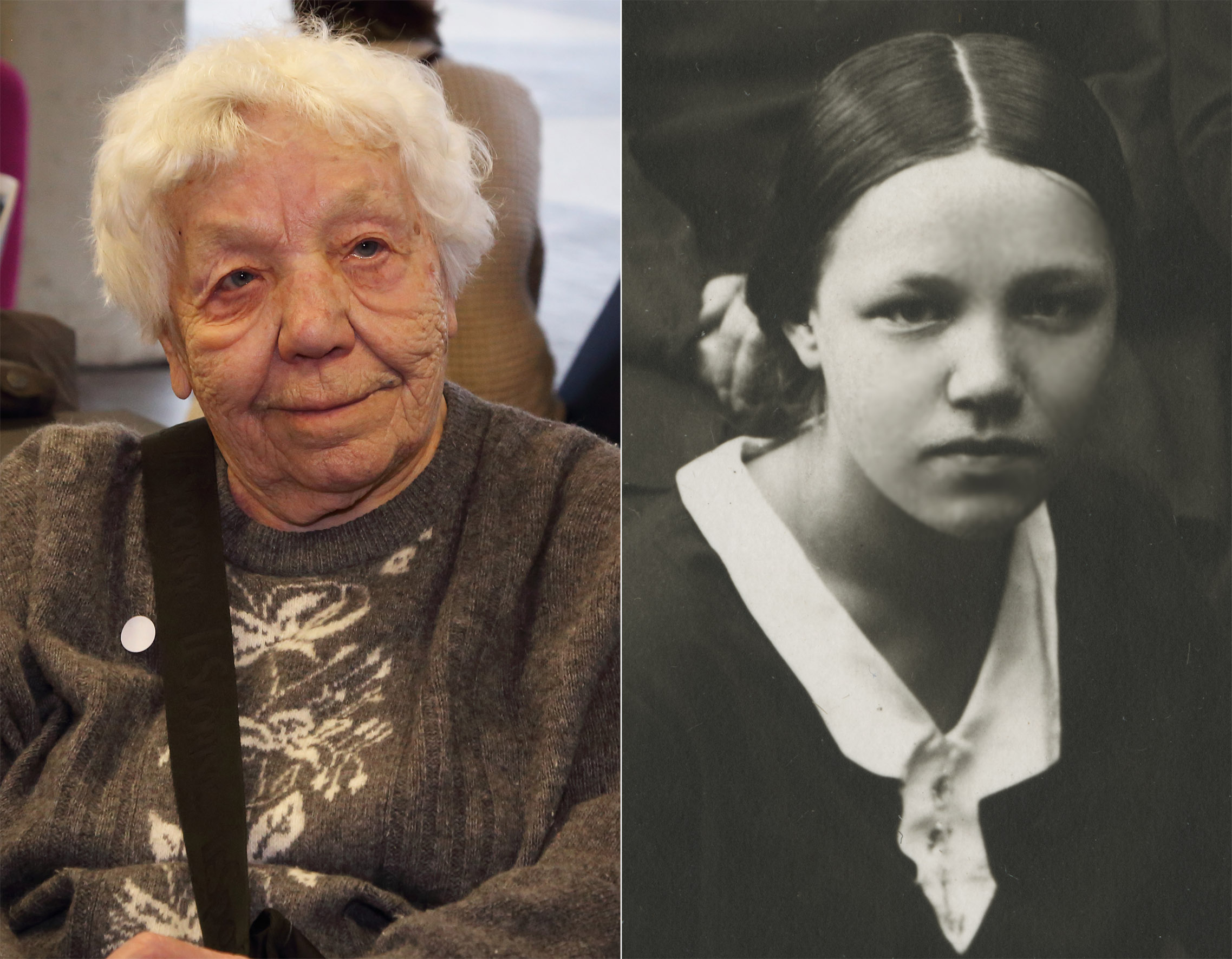Proua Felita-Agate 2017. aastal Rahvusarhiivis ja 1932. aastal gümnaasiumi lõpetamas Fotomontaaž: Benno Aavasalu