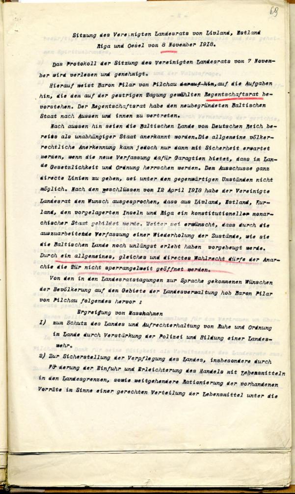 Liivimaa, Eestimaa, Riia ja Saaremaa ühendatud maanõukogu 8. novembri 1918 otsus Landeswehrikokkukutsumise kohta koos sellekohase instruktsiooniga. Läti Rahvusarhiiv. LVVA 4038.2.490, l. 69