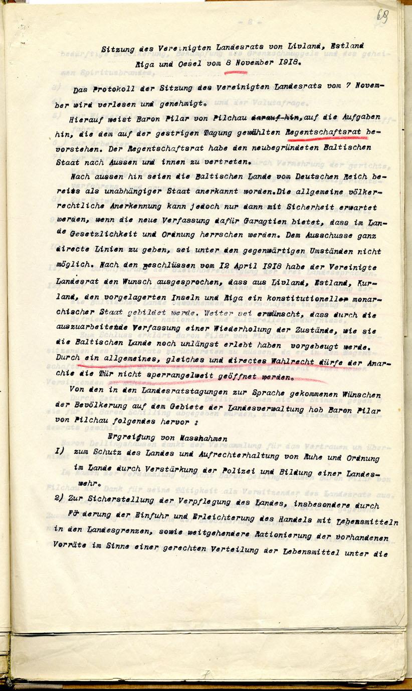 Liivimaa, Eestimaa, Riia ja Öseli maanõukogu 8. nov. 1918.a. otsus moodustada Landeswehr ning vastavad juhised. Läti Rahvusarhiiv. LVVA 4038.2.490, l. 69