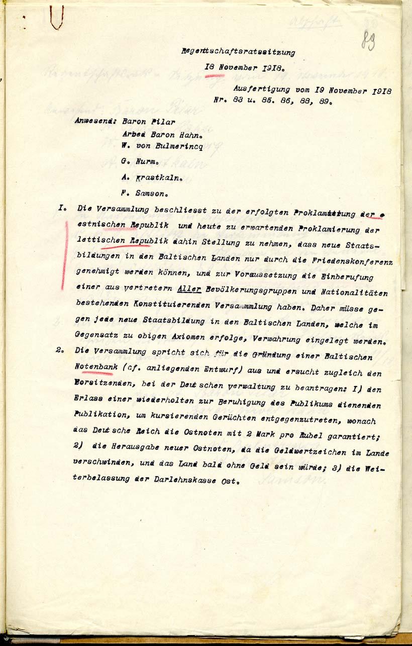 Regentnõukogu 18. novembri 1918 otsus Eesti tulevase riikluse määramisest rahukonverentsil ja Asutava Kogu kokkukutsumisest. Läti Rahvusarhiiv. LVVA.4038.2.490 l. 89
