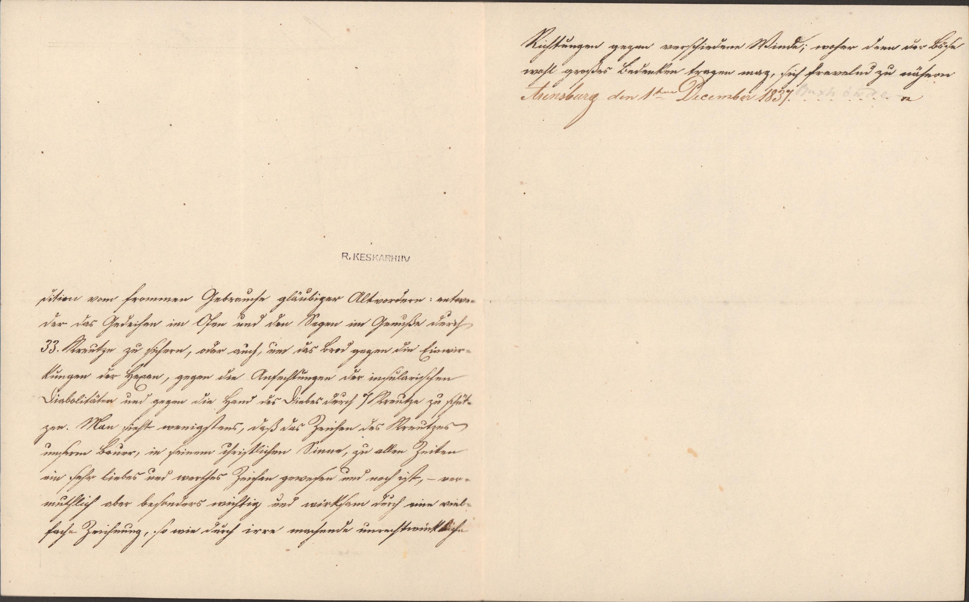 Ilmselt perekond Buxhöwdeni esindaja poolt 1837. aastal Saaremaal ülestähendatud kirjeldus sellest, kui oluline oli kaitsta oma toitu kurja silma, nõidade ja muu halva eest teatud sümboolikaga. EAA.2069.1.827. MDS00013