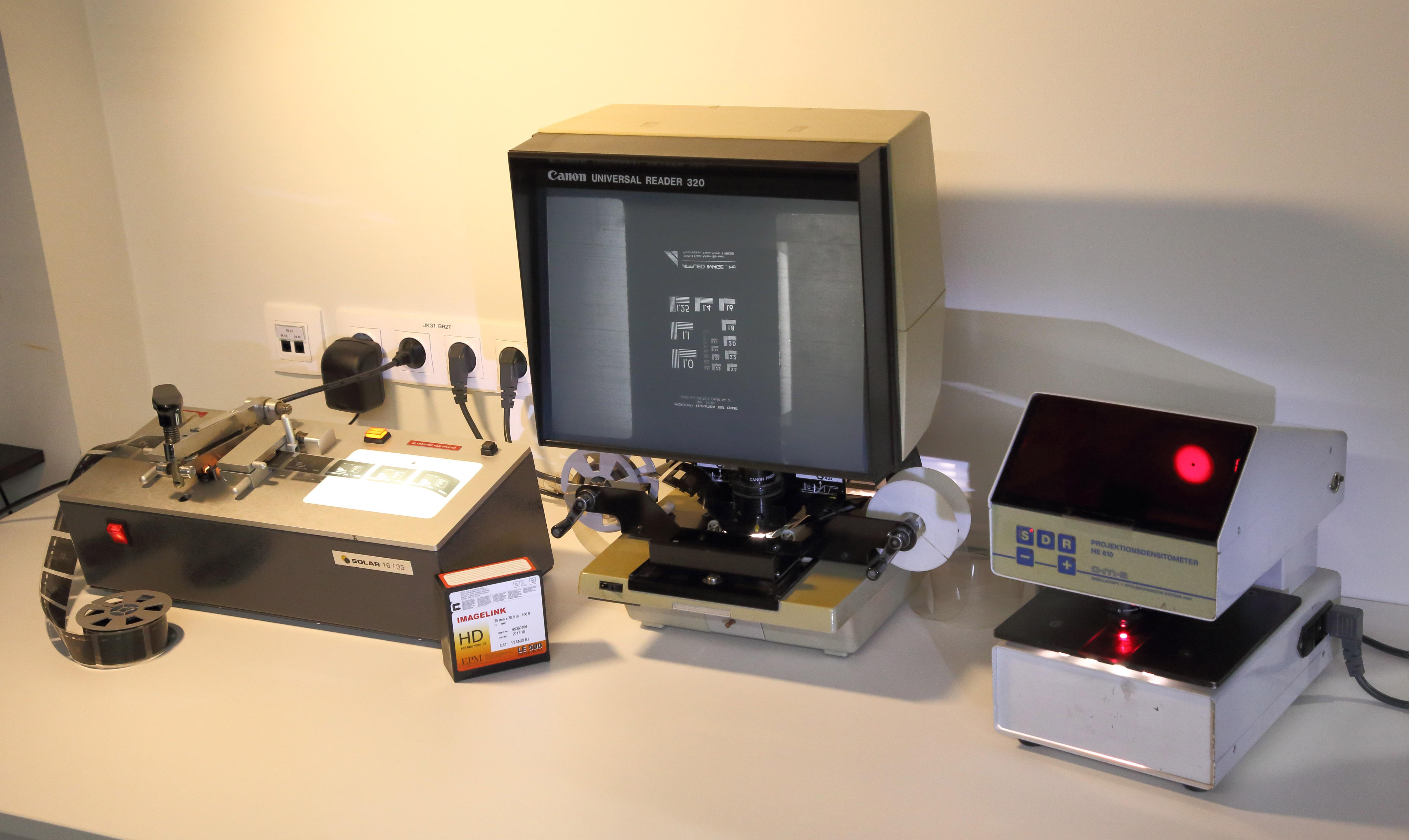 mikrofilmide-kvaliteedi-kontrollimiseks-ja-filmide-loikamiseks-parandamiseks-kasutatavad-seadmed