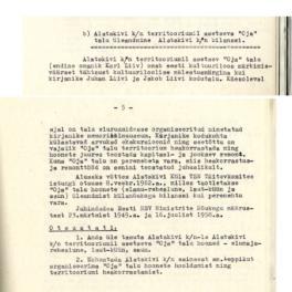 Väljavõte 1962. aasta 9. mai Eesti NSV Tartu rajooni töörahva saadikute nõukogu täitevkomitee istungi otsus, millega anti Alatskivi külanõukogu territooriumil asetsenud Oja talu üle Alatskivi külanõukogu bilanssi.