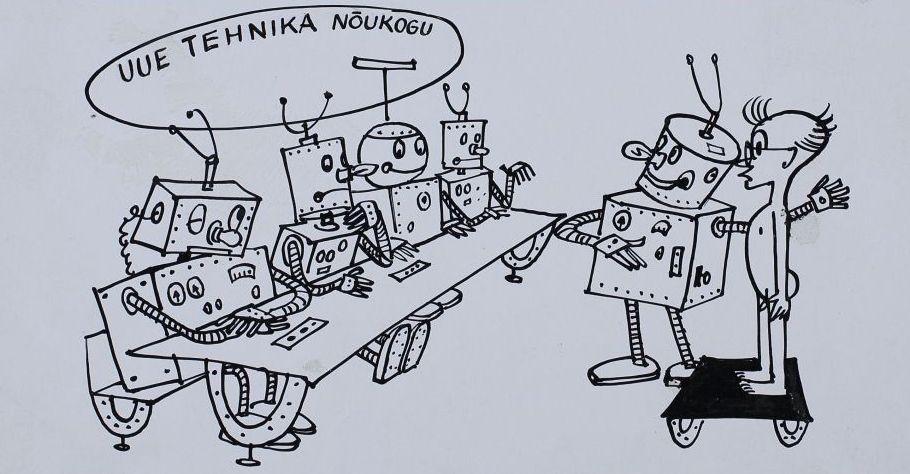 """Pilt ajakirjast """"Pikker"""". Laua taga istub robotite nõukogu ning nad hindavad nende ees seisvat alasti inimest. Laua kohal on kiri """"Uue tehnika nõukogu"""". pilt_00003_t"""