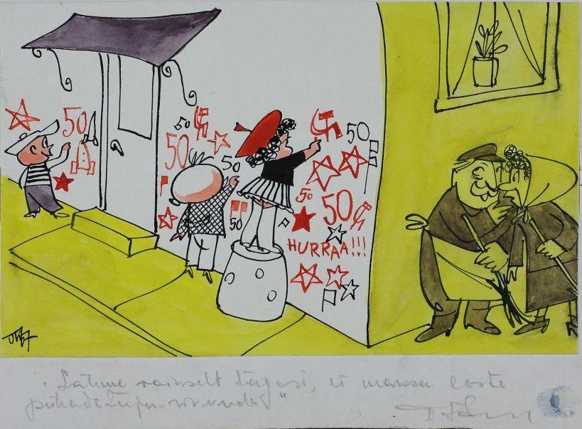 """Pilt ajakirjast """"Pikker"""". Lapsed sodivad majaseinale viisnurki, 50 ja sirpe ning vasaraid. Nurga taga passib kojameestest vanapaar. Pildi allkiri: """"Lähme vaikselt tagasi, ei maksa laste pühadetuju rikkuda"""". pilt_00004_t"""
