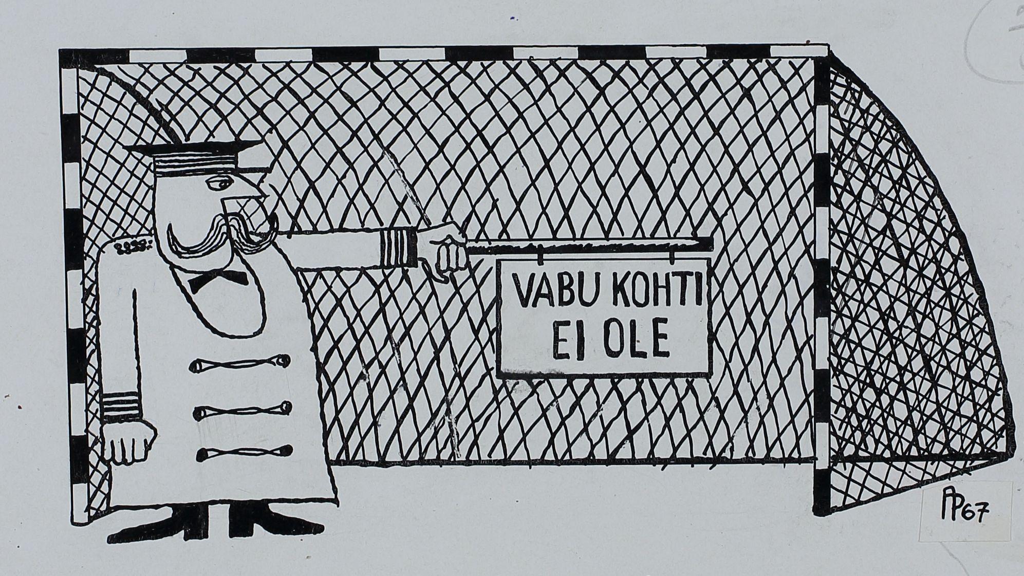 """Pilt ajakirjast """"Pikker"""". Jalgpalli väravas seisab mundris mees ja hoiab käes silti kirjaga """"Vabu kohti ei ole"""". pilt_00005_t"""