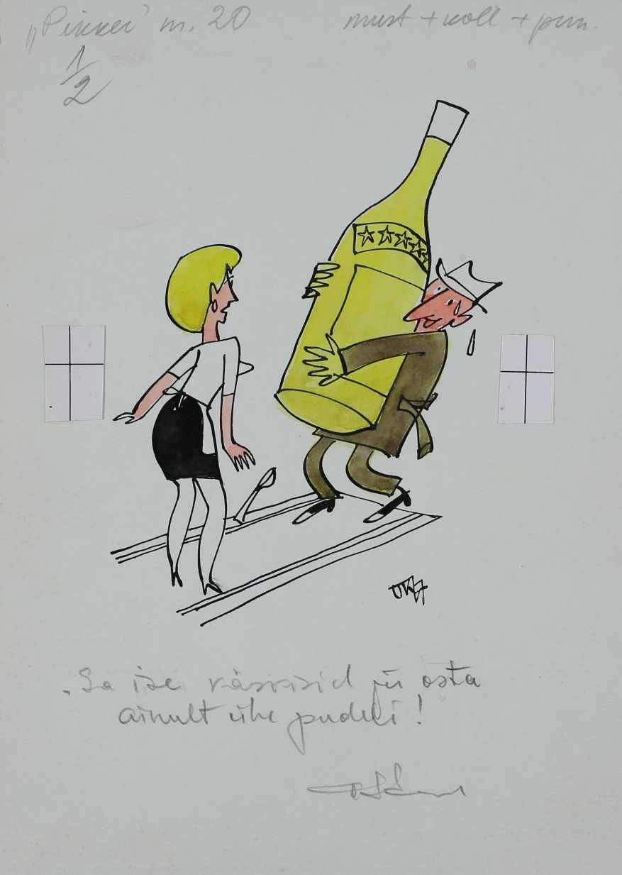 """Pilt ajakirjast """"Pikker"""". Mees tassib üleelusuurust pudelit ja tema ees seisab naine, lusikas käest kukkumas. Pildi allkiri """"Sa ise käskisid ju osta ainult ühe pudeli"""". pilt_00006_t"""