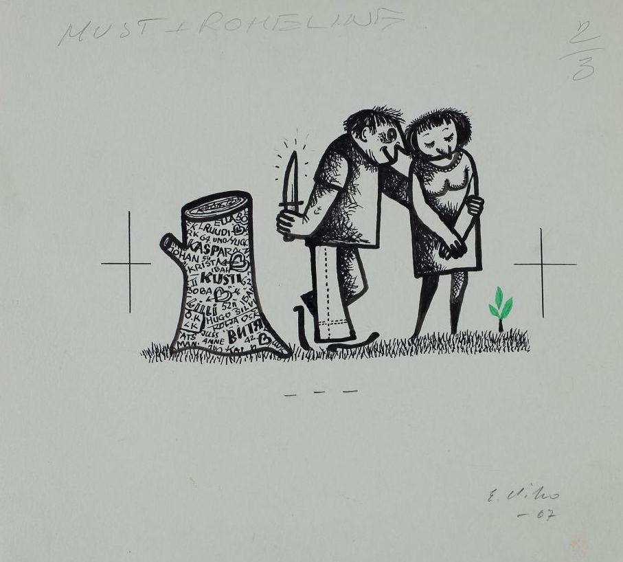 """Pilt ajakirjast """"Pikker"""". Mees ja naine vaatavad väikest puukest ning nende kõrval on känd, mille kooresse on lõigatud palju nimesid. Mehel on käes suur nuga. pilt_00007_t"""