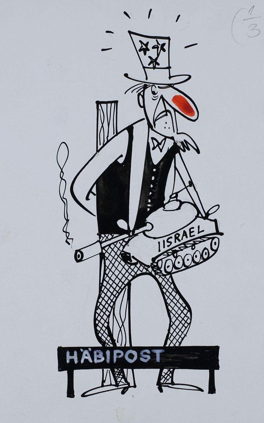 """Pilt ajakirjast """"Pikker"""". Häbipostis seisab punase nina ja tähekestega torukübaras mees, kelle käes on suitseva toruga tank kirjaga """"Iisrael"""". pilt_00008_t"""
