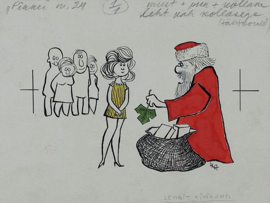 """Lembit Kiviranna joonistus ajakirjast """"Pikker"""" Punases mantlis näärivana ulatab rohelise puulehe kollases kleidis tüdrukule. pilt_00009_t"""