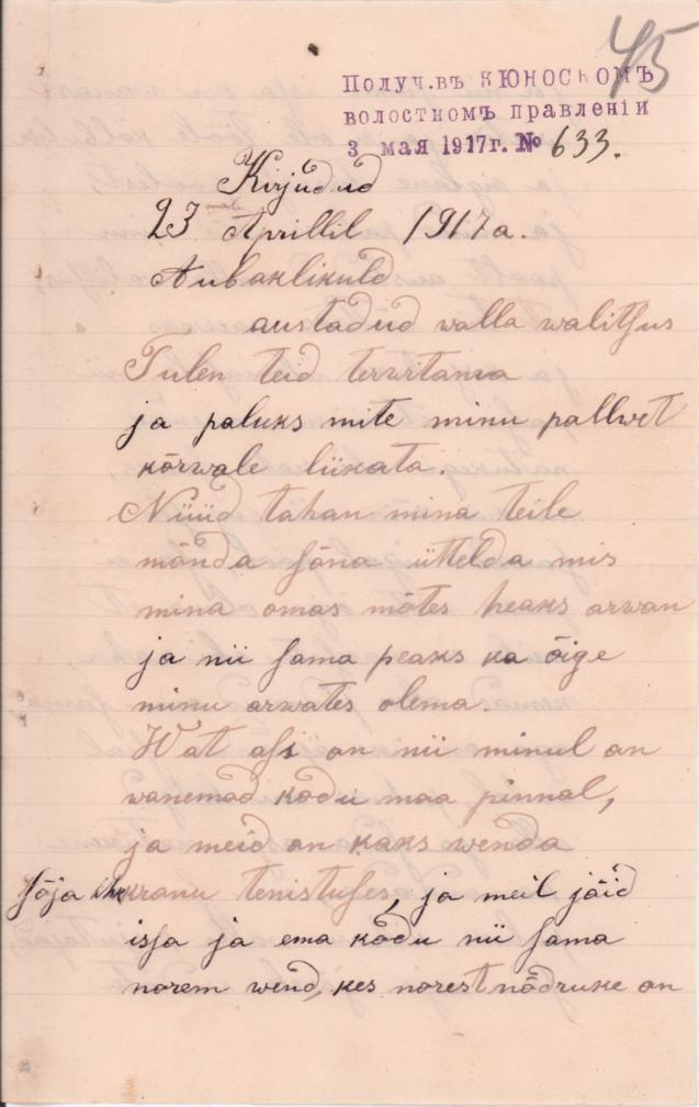 Kihnu madrus Jaan Mättase sõjaväljalt koduvalda saadetud kiri, 23.04.1917. RA, EAA.4542.1.316. l 45.