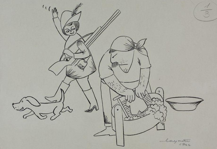 """Pilt ajakirjast """"Pikker"""". Võitlus soorollide vastu - naine läheb koeraga jahile, mees peseb pesu. 1966. pilt_00001_t"""