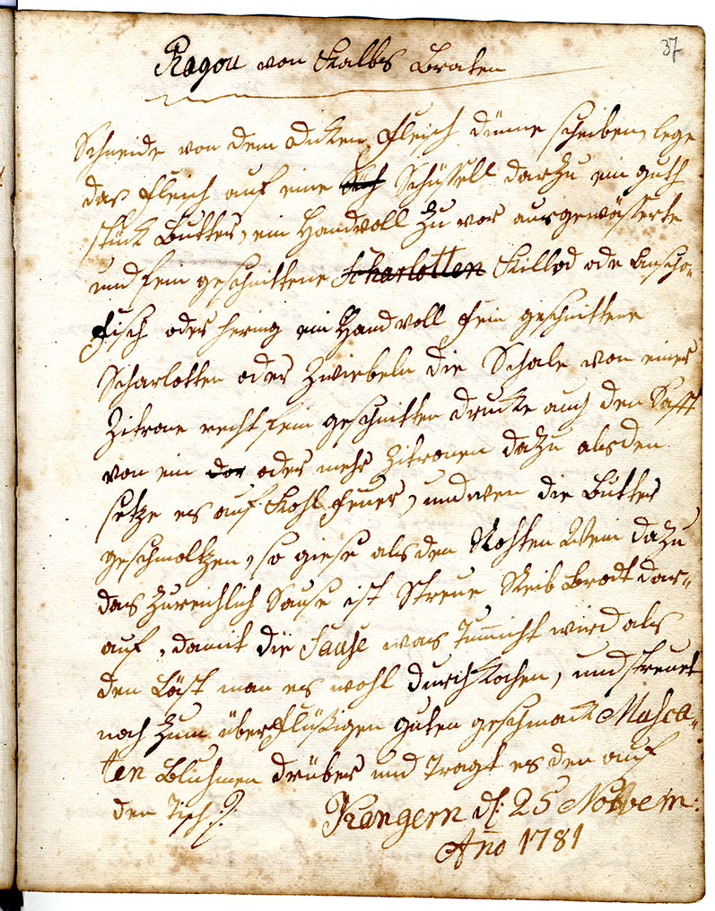 Kochbuch 1740–1781. EAA.1862.1.90.