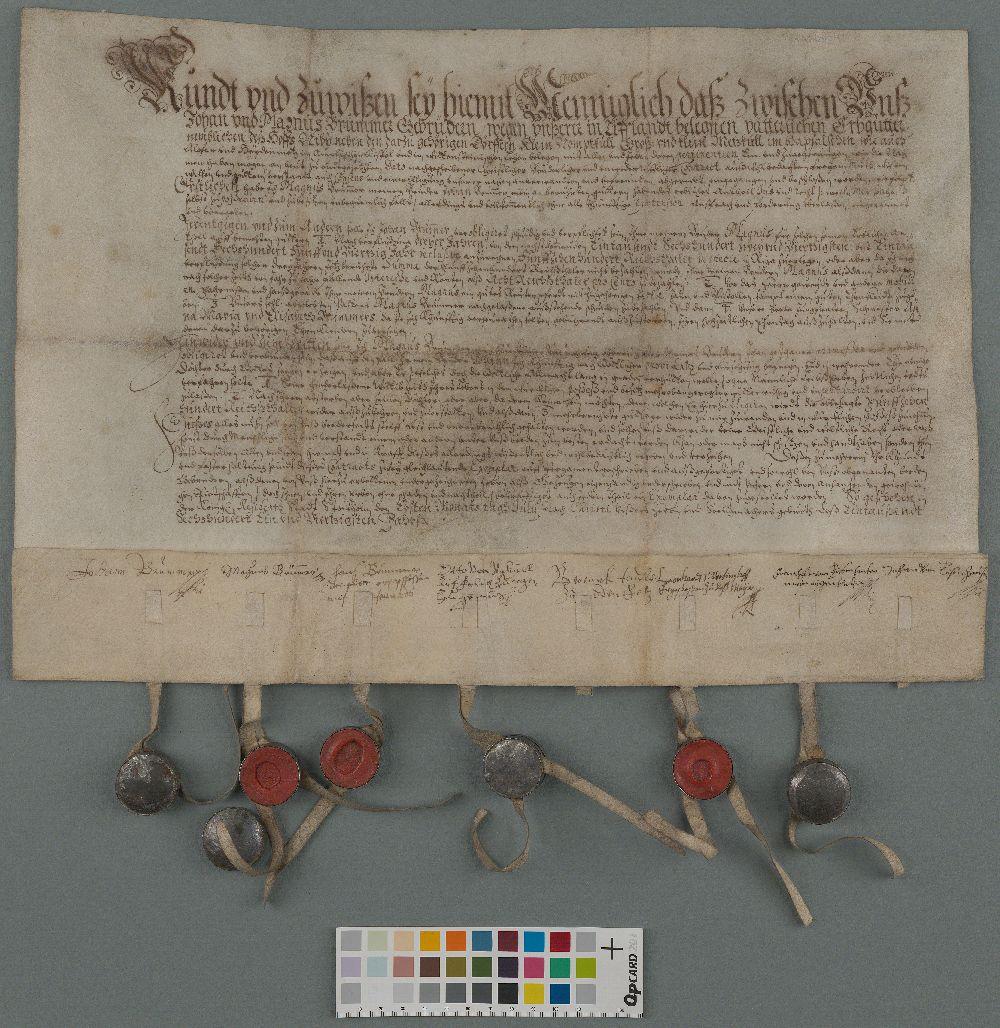 EAA.854.2.256 - Vendade Johann ja Magnus Brümmeri vahel 01.07.1641 sõlmitud leping, hõlmates nende pärusmõisaid Väike-Nõmmkülas ning Suur- ja Väike-Metskülas Haapsalu läänis.