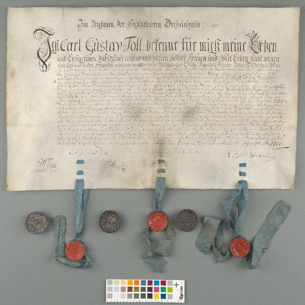 EAA.2062.2.56 - Mõisaomaniku Carl Gustav Tolli ja assessori Herman de Lagerstierna vahel 19.09.1706 sõlmitud ostu-müügileping Läänemaal Kullamaa kihelkonnas asunud Tolli mõisa üle.