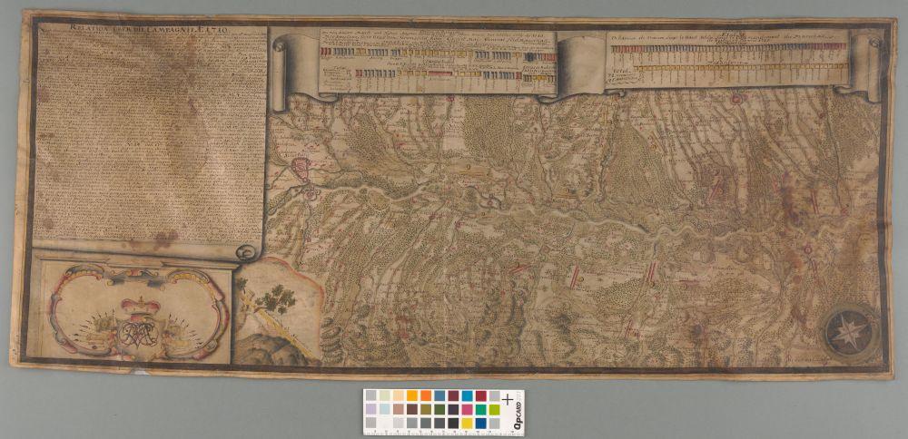 EAA.854.1.788a - Saksa Rahva Püha Rooma riigi ja tema liitlaste ning Prantsuse kuningriigi vägede vahel peetud lahingu kirjeldus ja vägede asendiplaan ülem-Reinil 31.10.1710.