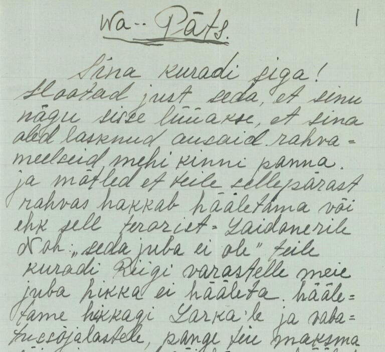 Anonüümsed ähvarduskirjad Konstantin Pätsile pärast 1934. a riigipööret